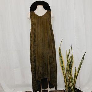• AVA & VIV • green & black striped midi dress